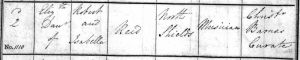 Elizabeth Reid baptism - Christ Church register - 02 December 1818 - RR given as Musician - crop