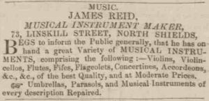 James Reid advert - col 6 - Newcastle Guardian + Tyne Mercury 01 May 1852 - crop