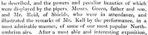 James Reid and both Greens in Ancient Melodies report - Alnwick Mercury Tue 01 Dec 1857 - detail lo-res extract