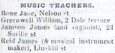 James Reid - last advert as music teacher - Slaters 1855