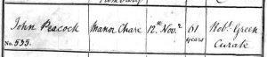 John Peacock burial record - All Saints parish register - Newcastle 12th November 1817 - crop