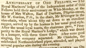 Thomas Chisholm plays at Oddfellows - Newcastle Guardian + Tyne Mercury 17 June 1848 - crop