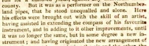 William Green obit - extract about extending chanter - Alnwick Mercury 02 Apr 1860